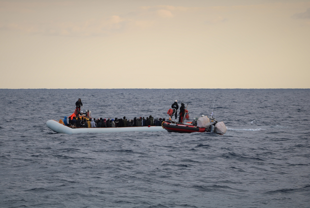 Migrants float on a rubber dinghy during a rescue operation by the MSF-SOS MEDITERRANÉE-run Ocean Viking ship off the Libyan coast, 18 February 2020.
