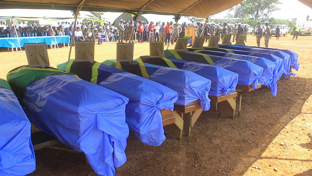 Coffins of Tanzanian peackeepers killed in the 7 December attack on their base near Beni
