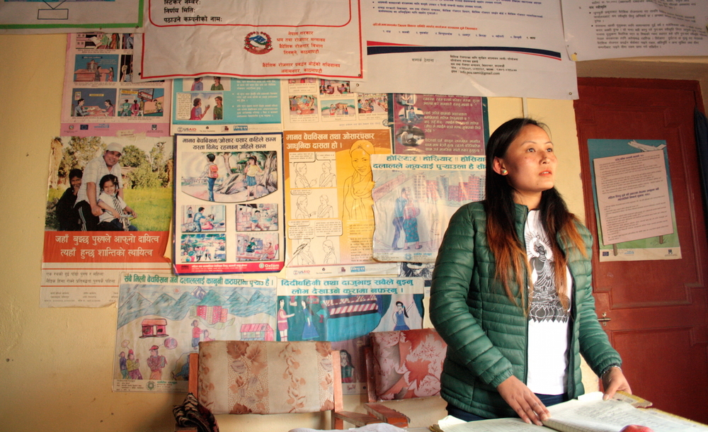 Guransh Gurung of the NGO Shakti Samuha, which fights human trafficking, in the office in Chautara