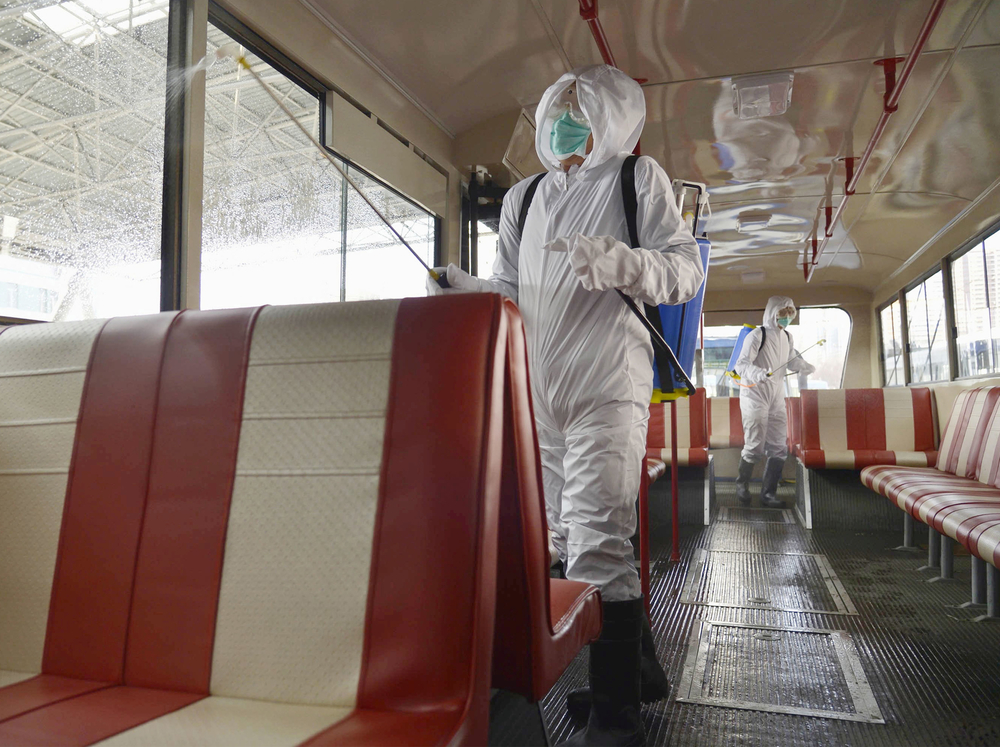 A trolley bus is disinfected amid fears over the spread of the novel coronavirus in Pyongyang, North Korea, on February 22, 2020.