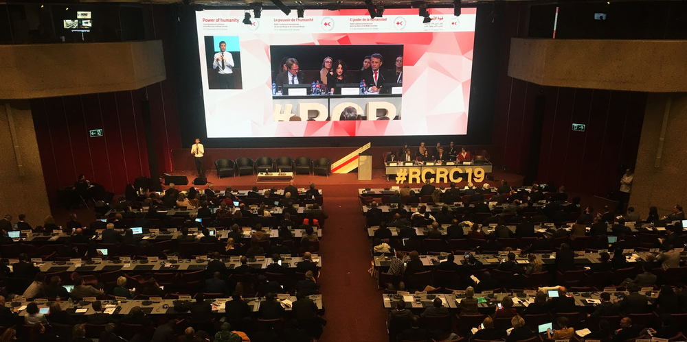 Delegates gather at the 33rd International Conference of the Red Cross and Red Crescent in Geneva from 9-12 December 2019.