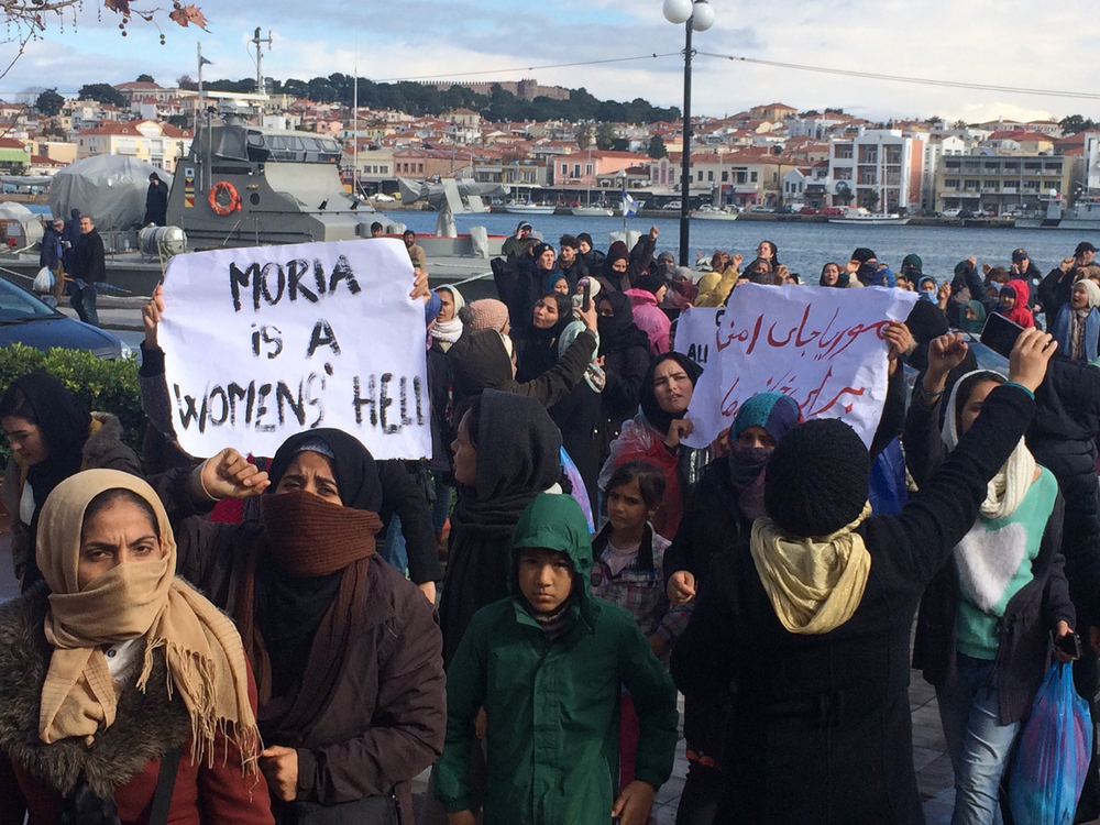Women and girls protest conditions at the Moria reception centre on the Greek island of Lesvos on Thursday, 30 January.