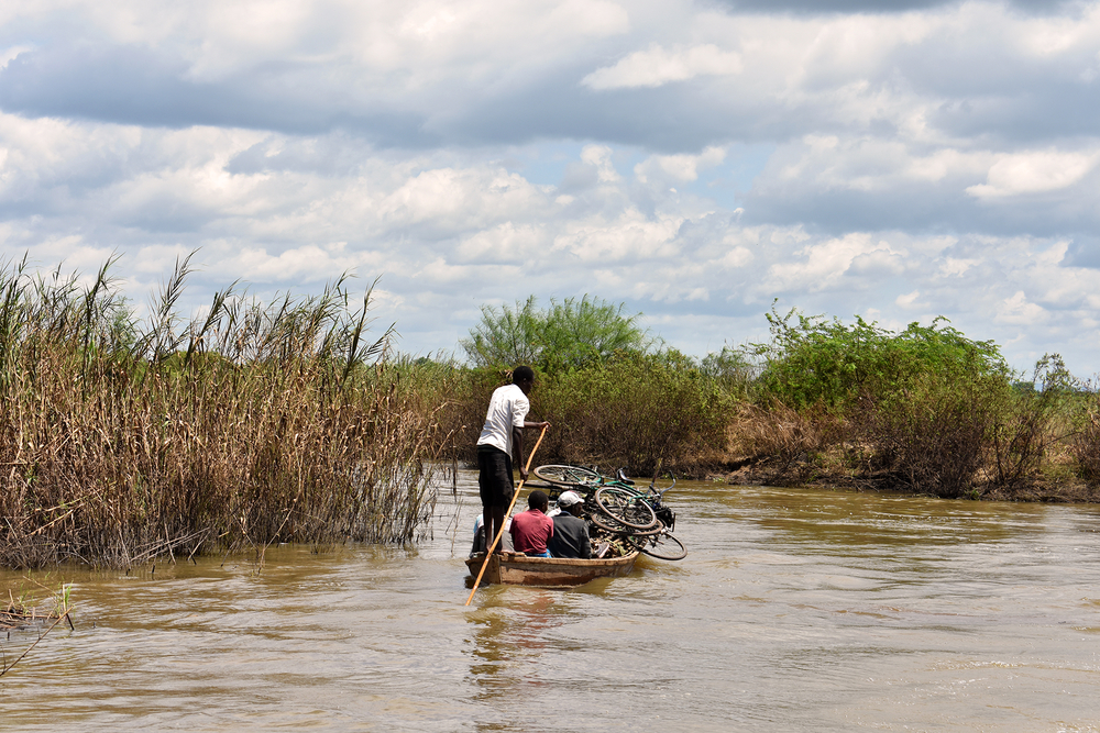 Households escaped the floods mostly via dugout canoe, with whatever possessions they could salvage from the rising water. This canoe is pictured in flood waters near Bangula in Nsanje district.