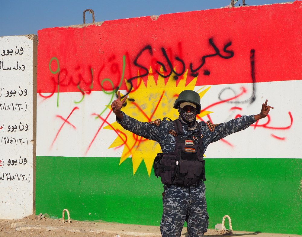 Some Kurdish flags were defaced by Iraqi forces advancing towards Kirkuk in October 2017.