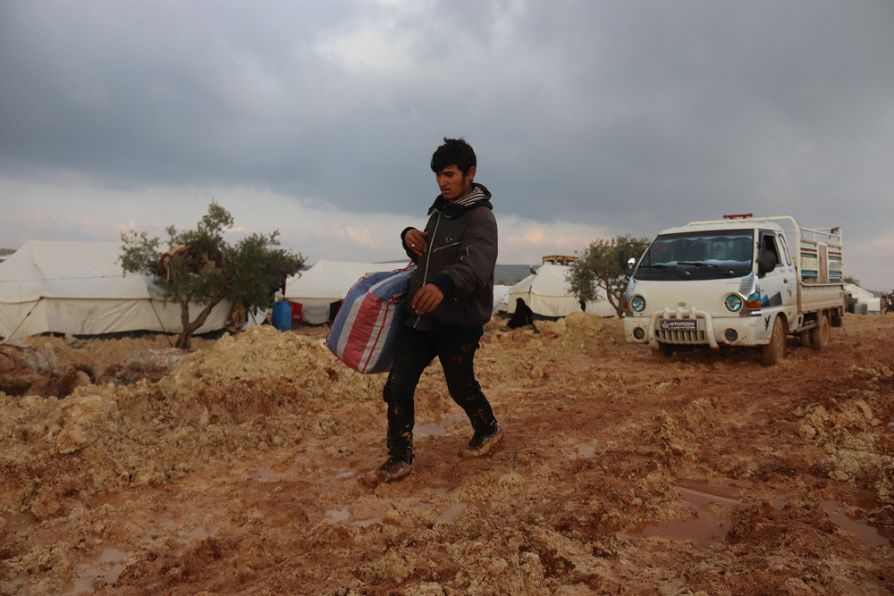 Makeshift camps around Sarmada, a town in Idlib near the Syrian border with Turkey on 10 February 2020.
