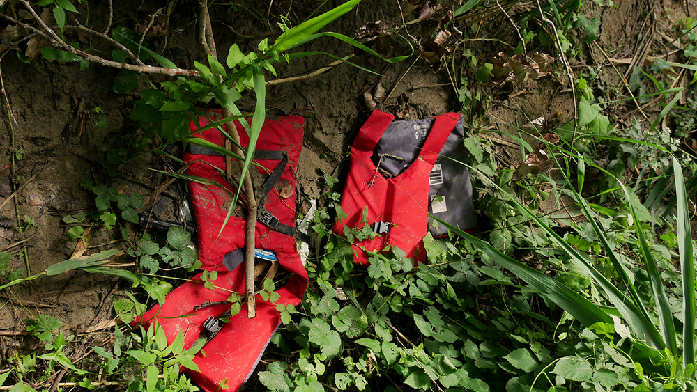 Two life jackets abandoned by migrants in Greece.