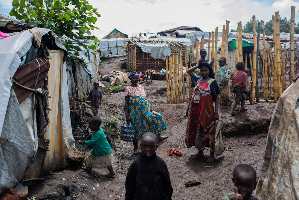 A camp for internally displaced people in the eastern town of Minova, where fraudulent aid distributions occurred several times, according to the Mercy Corps investigation.