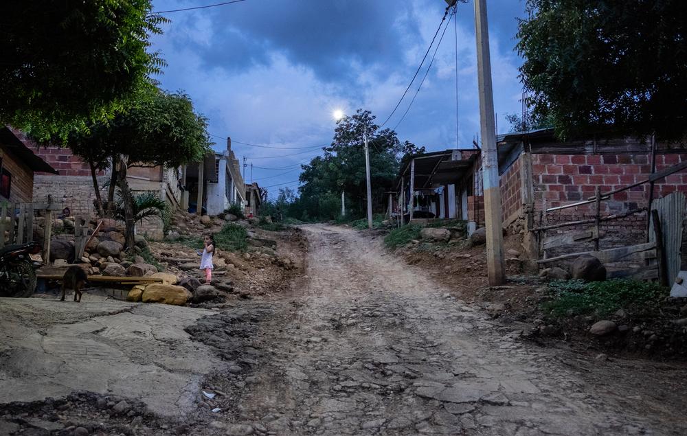 A street in Las Delicias at dawn.